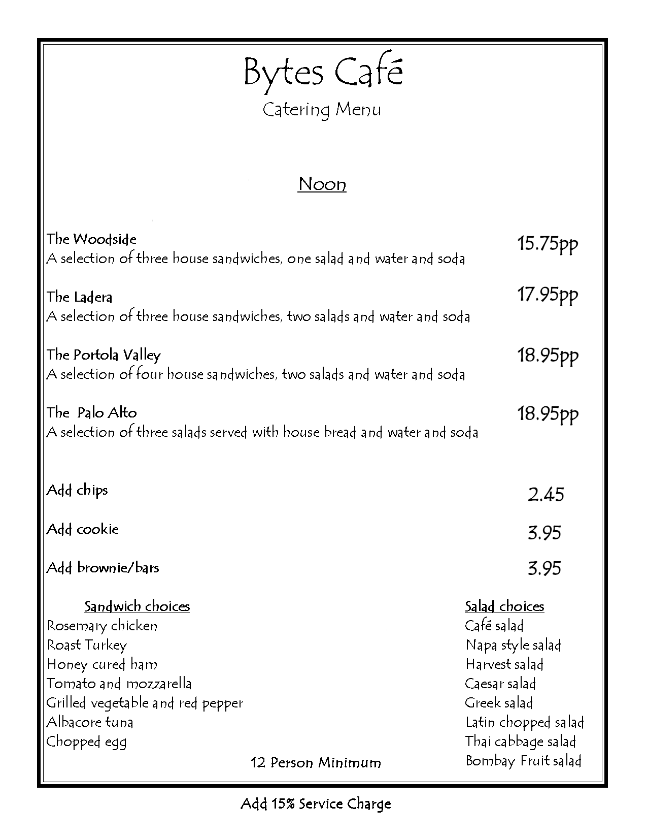 Noon Catering - Cold Menu